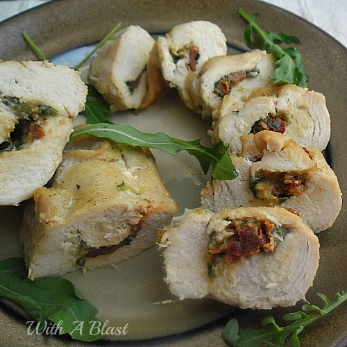 Tomato and Mozzarella Stuffed Chicken ~ Delicious stuffed Chicken, serve warm or cold - whole or sliced into wheels as mains, snacks or an appetizer #Chicken #StuffedChicken #Snacks www.WithABlast.net
