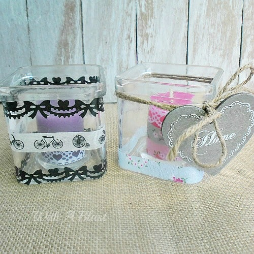 Washi Tape Candle Holders ~ Quickly prettify your glass candle holders {and the candles!} to fit in with your decor #WashiTape #CandleHolders #Candles