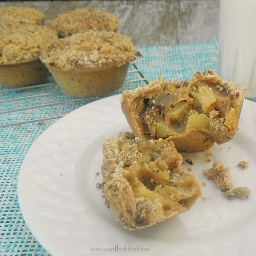 Apple Strudel Muffins ~ These Muffins form their own casing {or crust} magically without you doing all the work and they taste just like Apple Strudel {and some reckon mini Apple Pies!} #AppleStrudel #Muffins #QuickAndEasyRecipe www.WithABlast.net