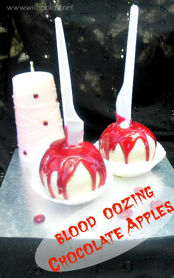Blood Oozing Chocolate Apples are as gory as you can make a Halloween treat !  But delicious with the apple, chocolate and hard red candy combination