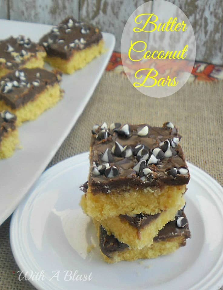 Butter Coconut Bars ~ Delicious, Buttery coconut bars with a Chocolate Glaze - no eggs or milk required ! www.WithABlast.net