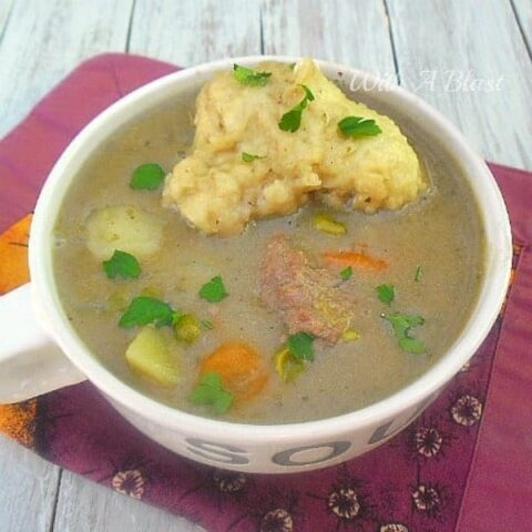 Chunky Steak and Vegetable Soup With Dumplings