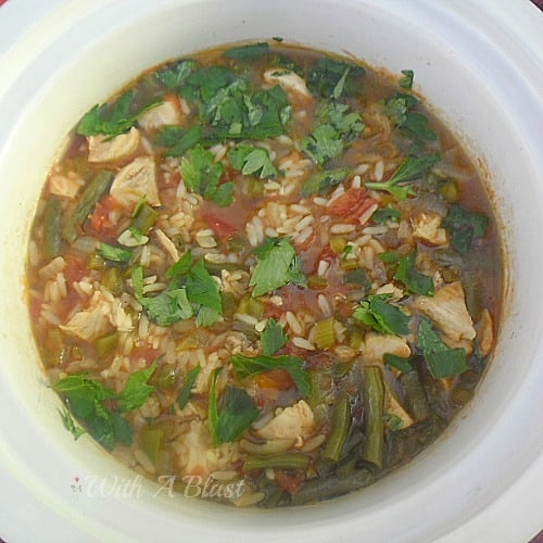 Hearty Chicken Gumbo (Slow-Cooker) ~ Scrumptiously warming Chicken Gumbo ~ perfect on a cold night and ready in 2 hours #Gumbo #ChickenDish #OnePotDish #SlowCookerRecipe