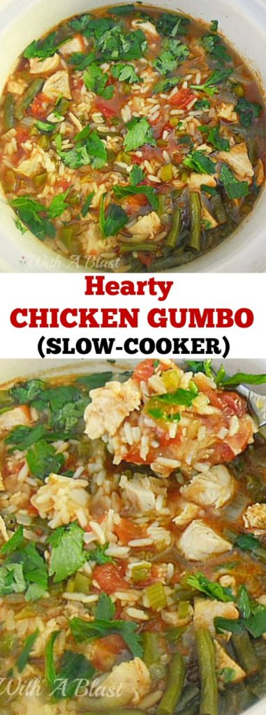 Scrumptiously warming Chicken Gumbo ~ perfect on a cold night and ready in 2 hours #Gumbo #ChickenDish #OnePotDish #SlowCookerRecipe