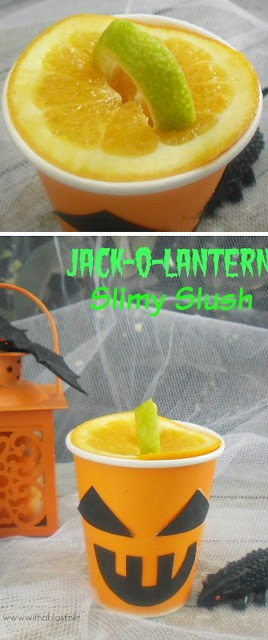 "Perfect drink for Halloween and an easy way to create a lantern ""lid & handle"" ! (Adult version given as well) #Halloween"