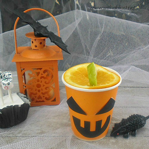 "Jack-O-Lantern Slimy Slush is a fun Halloween drink - non-alcoholic, quick recipe and easy to make the ""Lanterns"", using all standard pantry ingredients."