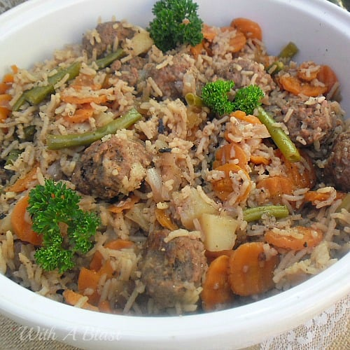 One-Pot Meatball and Rice Dinner ~ We all love easy, delicious recipes especially when using all fresh vegetables and this is an All-In-One-Dinner with some substitutes given as well www.WithABlast.net