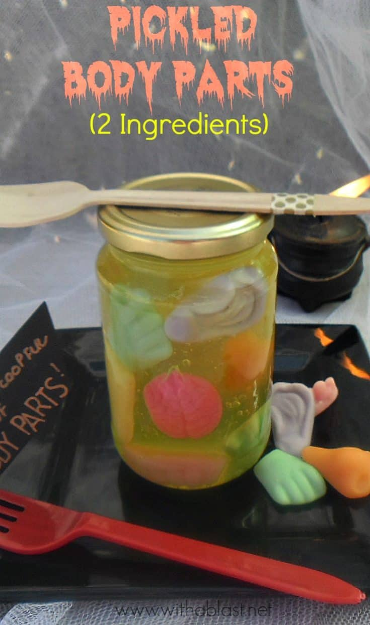 Pickled Body Parts is a Halloween Treat ! This ever so popular treat is made with only 2 ingredients ! Make them in smaller clear containers as Party Favors your guests would love #HalloweenTreat #Halloween #HalloweenPartyFavors