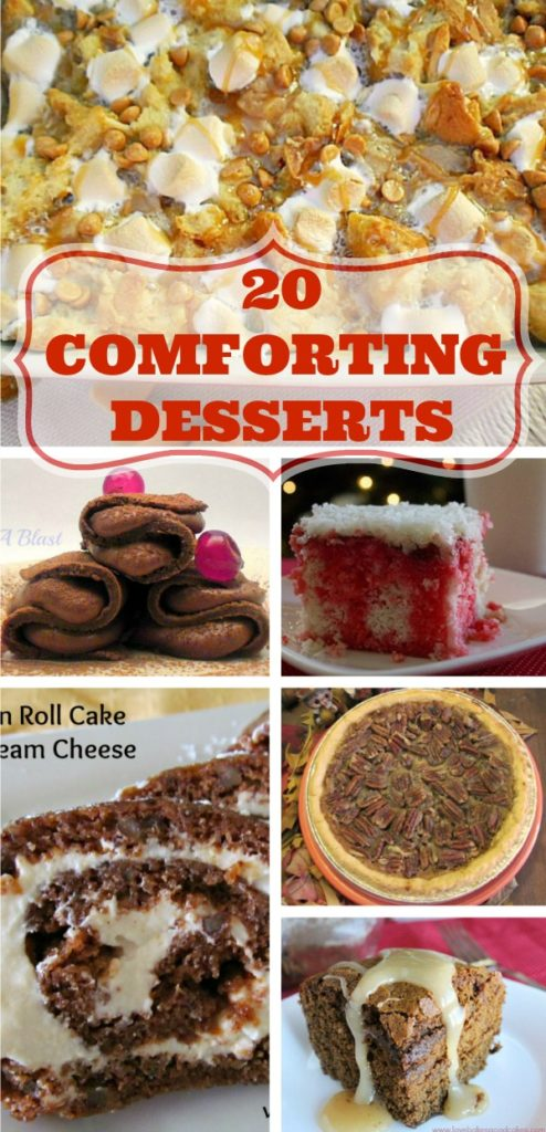 20 Comforting Desserts including puddings, cakes, pies, rich chocolate pancakes (yes for dessert!), Monkey bread and so much more #ComfortDesserts #DessertRecipes #WinterDesserts