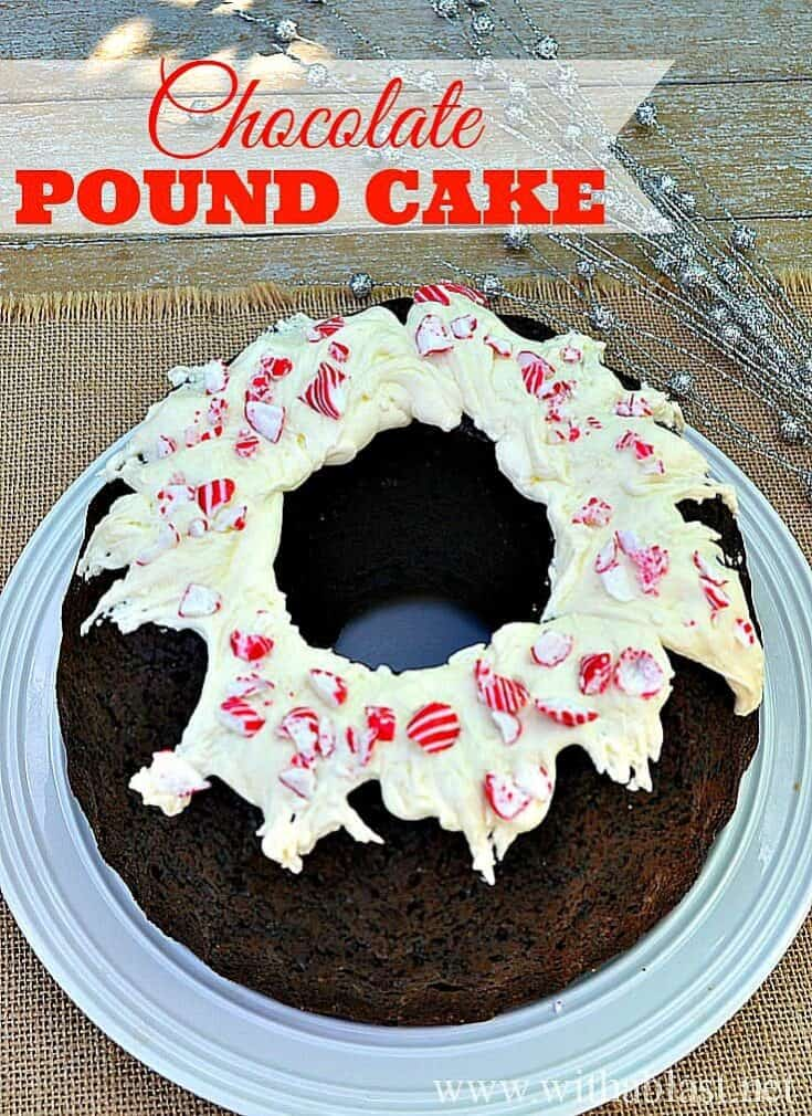 Super moist Chocolate Pound Cake with a to-die-for Frosting and decorated for Christmas (which can be changed to suit any occasion)