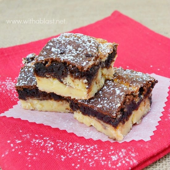 Cinnamon Cheesecake Brownies ~ A Gooey Brownie layer with a creamy Cinnamon Cheesecake layer combination is a perfect Fall dessert or sweet treat #Fall #Desserts #Brownie #Cheesecake www.withablast.net