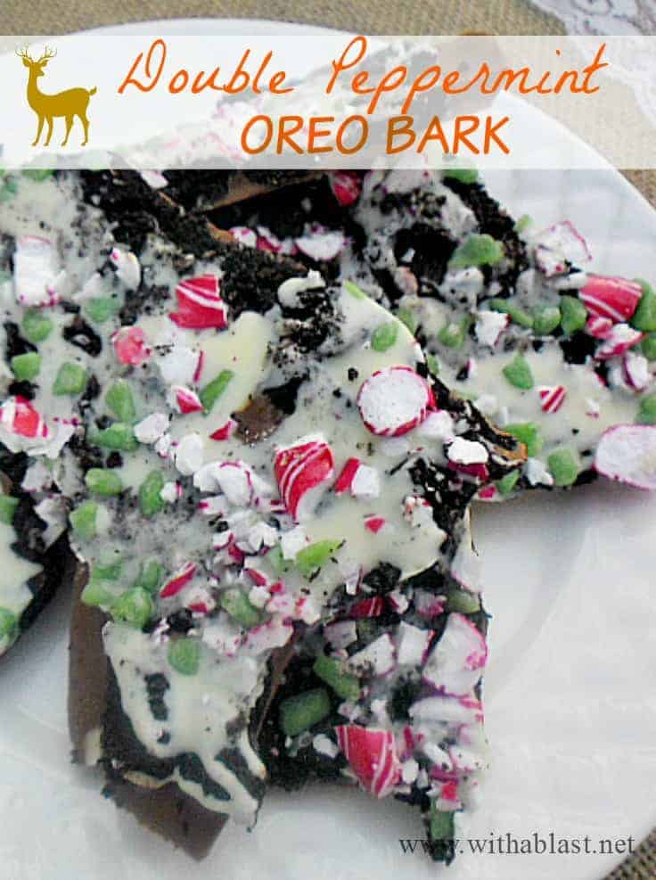 All your favorites in this Double Peppermint Oreo Bark ! Chocolate, Oreos, Peppermint - and packed in a small box or bag this makes the ideal gift