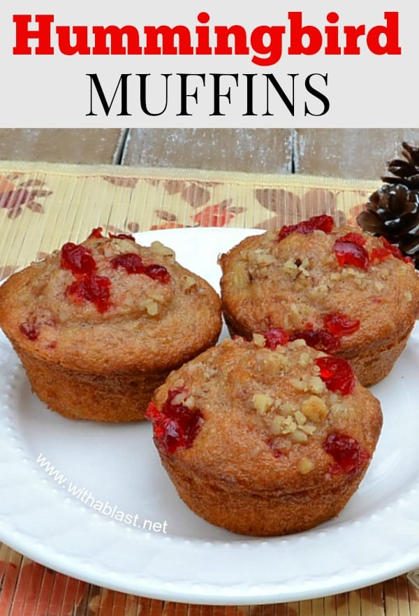 Perfect breakfast addition or as a lunchbox treat ! These Hummingbird Muffins are moist, fruit packed and totally delicious !