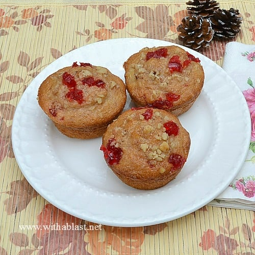Hummingbird Muffins ~ Perfect breakfast or as a lunchbox treat ! One won't be enough - these are moist, fruit packed and totally delicious ! #Muffins #Hummingbird www.WithABlast.net