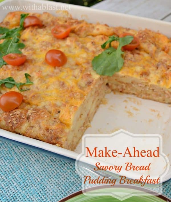 Make-Ahead Savory Bread Pudding Breakfast ~ Less than 20 minutes to prepare, cover up overnight {or at least 30 minutes!} and bake in the morning ~ Meaty, cheesy and delicious crusty sides #MakeAhead #Breakfast #ChristmasBreakfast #BreakfastCasserole