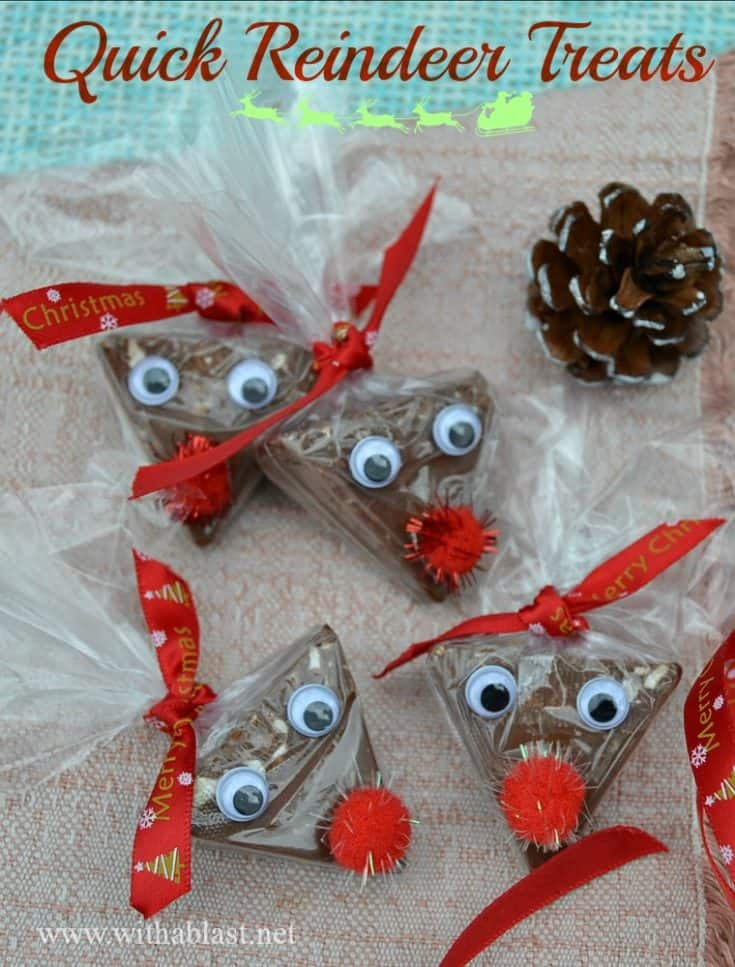 Quick Reindeer Treats took me less than 3 minutes to make one of these cute Treats – perfect for classmates, stocking fillers etc #ReindeerTreats #Christmas #StockingFillers #PartyFavors