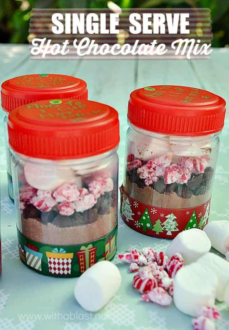 Adorable Single Serve containers with everything you need for a quick drink [just add to hot milk!] Great as gifts too!