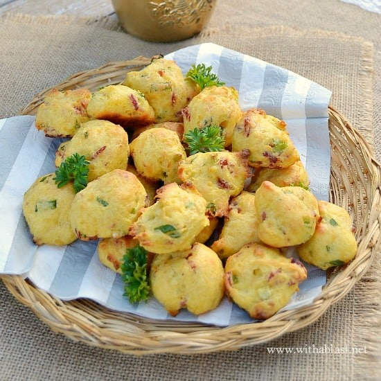 Bacon and Cheddar Bites ~ These mini Bites are fluffy and light, delicious served on it's own, with butter or as part of a savory platter - great as an appetizer or at a party {Easy Dump & Bake Recipe!}