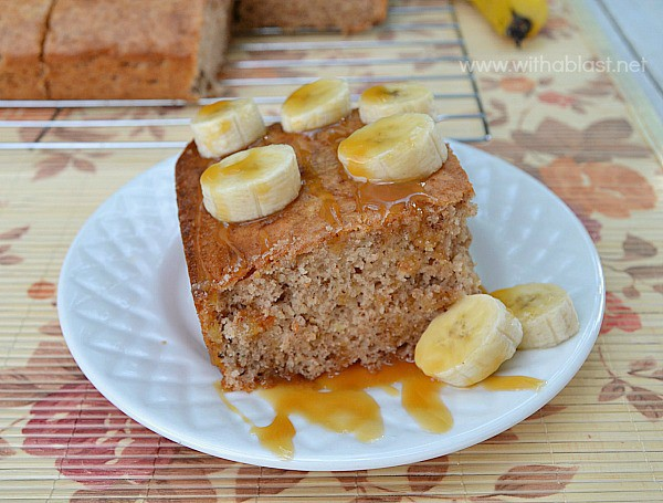 No frosting needed as this Caramel Banana Cake is very moist and served (warm or cold) with fresh Banana and Caramel sauce [cake mix recipe]