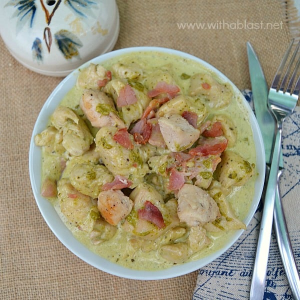 Chicken in Creamy Pesto-Bacon Sauce