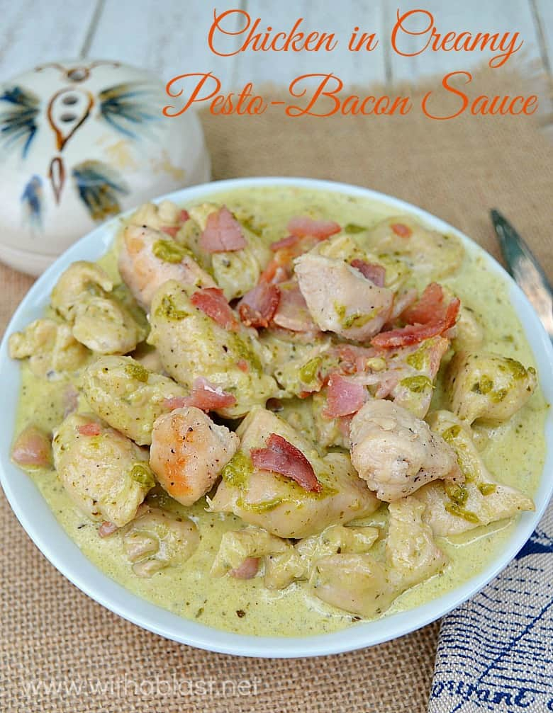 Quick, easy and delicious dinner - The Bacon and Pesto Sauce is amazing !