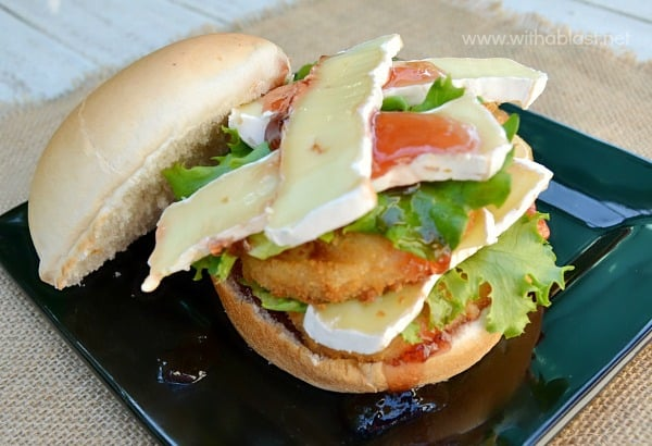 Cranberry Camembert Chicken Burgers ~ Great idea to use up Cranberry Jelly or Sauce and it is an amazing combination with Chicken and Camembert ~ Quick, easy and delicious !