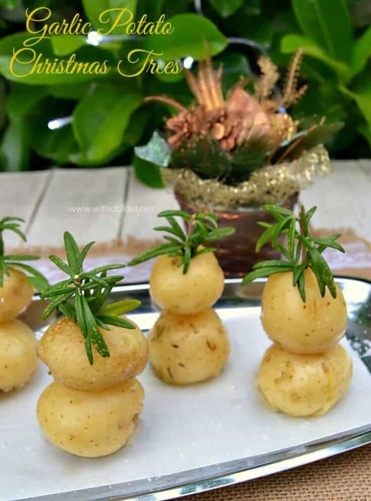 Garlic Potato Christmas Trees are Festive looking and very Garlicky with a hint of Rosemary ~ perfect side dish for Christmas