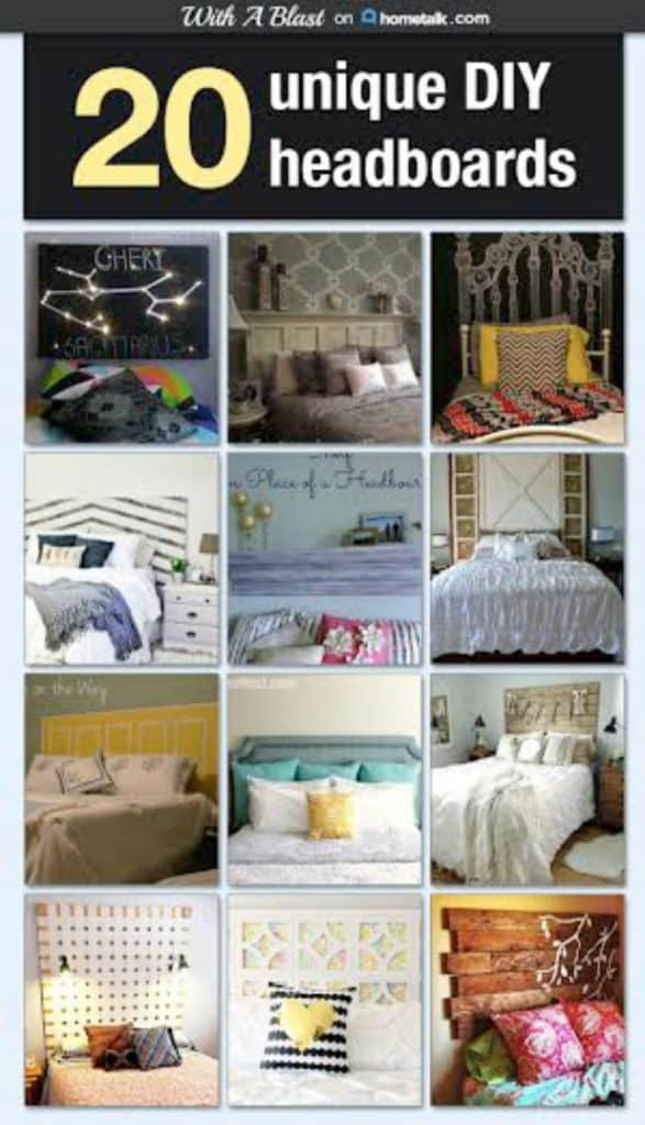 20 Unique DIY Headboards in this lovely collection - something for everyone and all with tutorials ! #DIY #Headboards