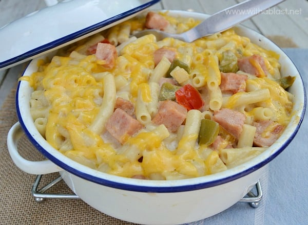 """Creamy Ham Casserole ~ The creamiest, most delicious spin on the popular """"Mac and Cheese"""" around ! Not only delicious, but quick and easy to make as well, using everyday ingredients and perfect for a weeknight dinner"""