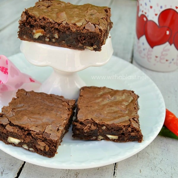 These , gooey Decadent Chili Chocolate Brownies have a spicy bite to them and make the perfect Valentines Day treat ( or any other day ! ).