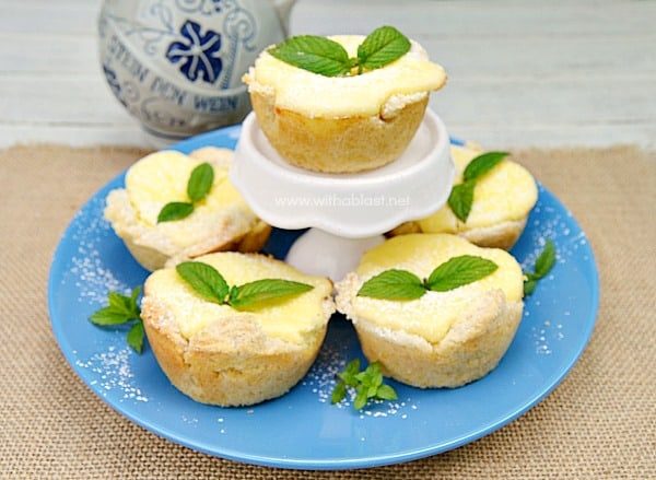 Lemon Cheesecake in Bread Bowls - Your guests will never know the crust is made from bread slices - which saves you loads of time - and the filling is zesty delicious !