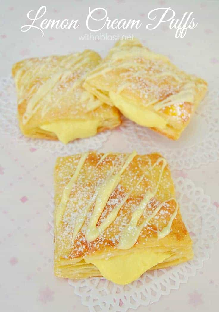 Light and flaky Lemon Cream Puffs, filled with a divine Lemon Cream. Can be as zesty as you prefer ~ another quick, easy but scrumptious dessert Pastry !