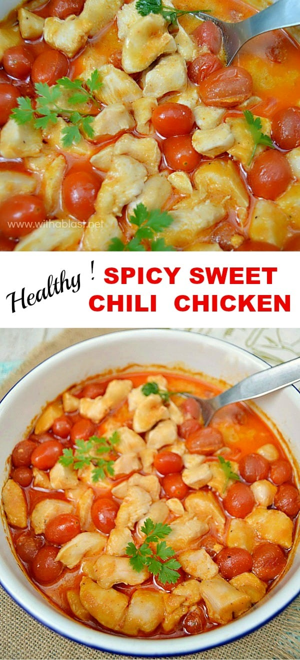 Spicy Sweet Chili Chicken - This low-fat Dump-and-Bake Chicken casserole is done in under 40 minutes (start to serving)