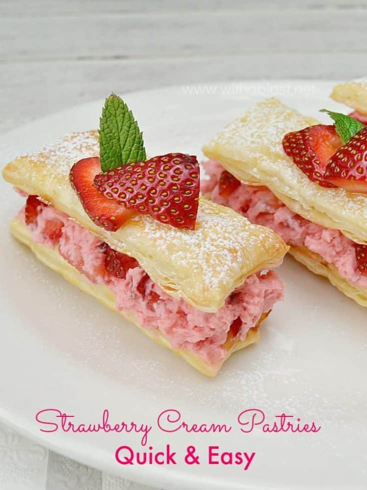 Strawberry Cream Pastries are so easy to make, and they are perfect to serve as a Valentine's Day treat, Mother's Day or as an everyday dessert
