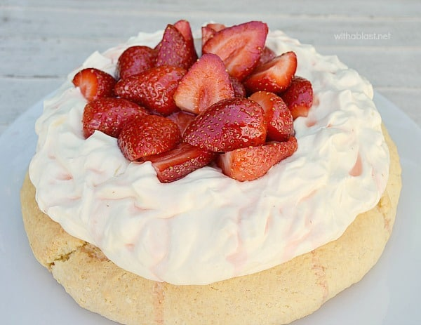 Strawberry and Cream Scone Cake is a huge scone and delicious served as a tea time treat or at brunch and most definitely perfect for Valentines Day morning