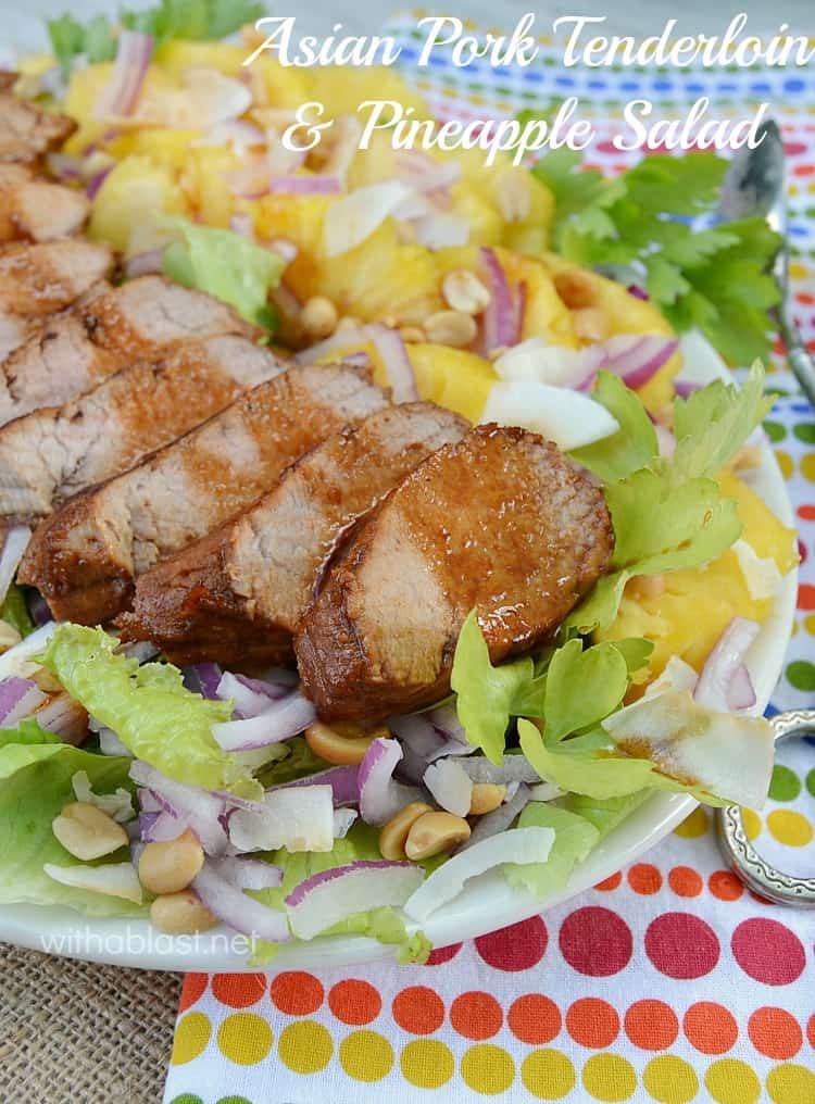 Asian marinated Pork over Pineapple Salad ! Lunch or light dinner