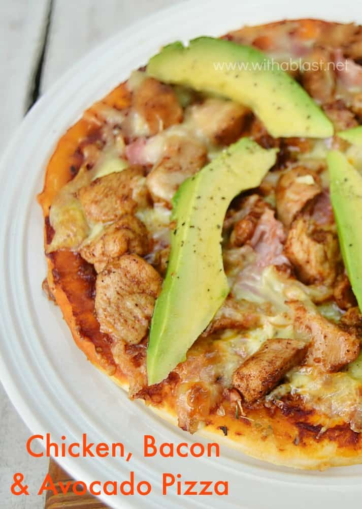 "Quick, easy & the most popular Pizza topping combination in this Chicken Bacon and Avocado Pizza which is ""semi-homemade"""