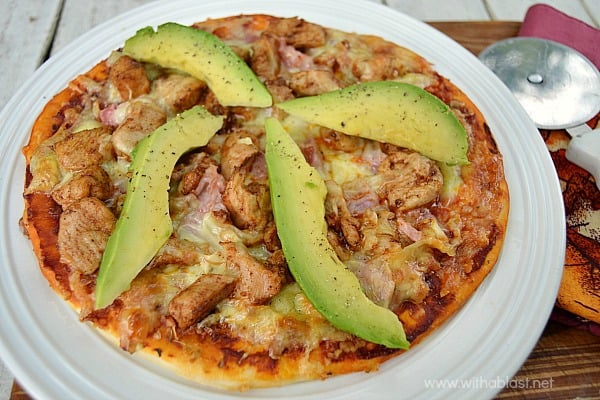"Chicken Bacon and Avocado Pizza ~ Quick, easy & the most popular Pizza topping combination in this Chicken Bacon and Avocado Pizza which is ""semi-homemade"""