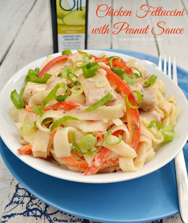 Chicken Fettuccini with Peanut Sauce ~ This scrumptious Low-Fat Chicken Pasta dish is smothered in just enough Peanut Sauce to make it not only healthy, but delicious as well !