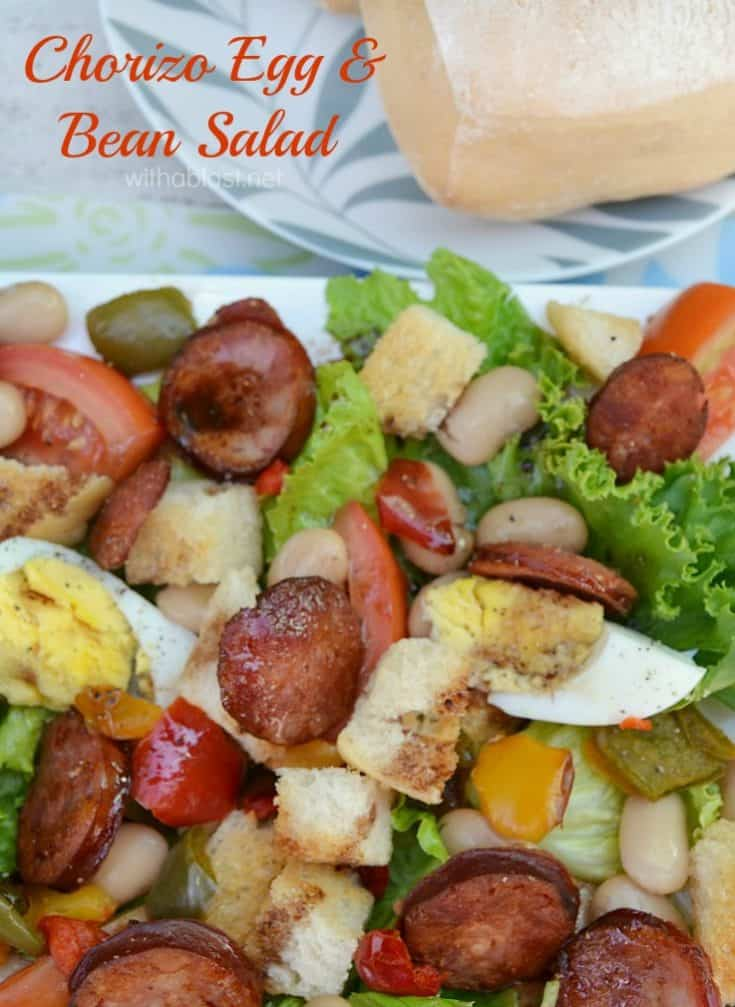 Chorizo Egg and Bean Salad is a rich, filling salad which is perfect for lunch/light dinner with a dinner roll - lots of protein in this Salad ! #BeanSalad #MeatySalad #LunchSalad #LightDinnerRecipes