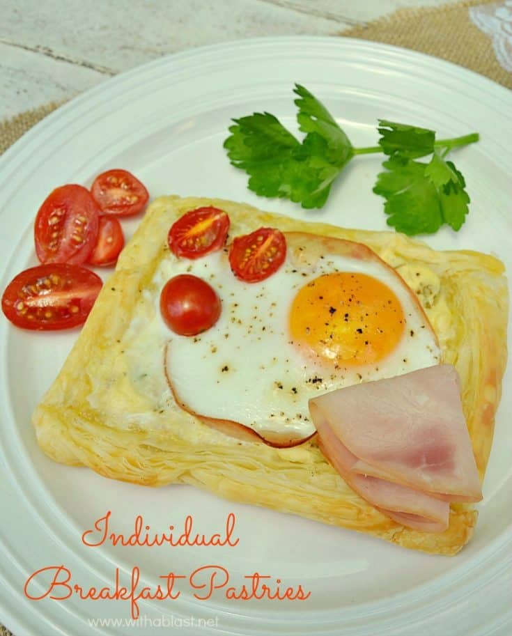 Individual Breakfast Pastries ~ With Basil Creme fraiche, ham, eggs and tomatoes, these Breakfast/Brunch Pastries are ideal for Valentine's Day, Easter, Mother's Day or any other day !  #Breakfast #Brunch #Pastries #HolidayBrunchIdeas #HolidayBreakfastRecipes