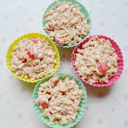Rice Krispie Cupcakes for Valentine's Day is a no-bake sweet treat. The Rice Krispies and the surprise Jelly candies make these a hit every time !