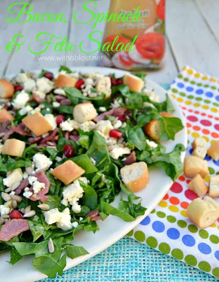 Bacon Spinach and Feta Salad is one of the quickest, easiest and low-feta salads around ! Serve this 15 minute salad as a side dish or for lunch #SpinachSalad #LowFatSalad #HealthyEating #LunchRecipes #SideDishRecipes