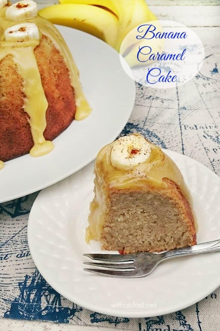 Banana Caramel Cake is a dense, moist cake and so decadent with the 3 ingredient Caramel topping ! Perfect dessert or tea time treat  #BananaCake #BananaCaramelCake #TeaTimeTreats #CakeRecipe