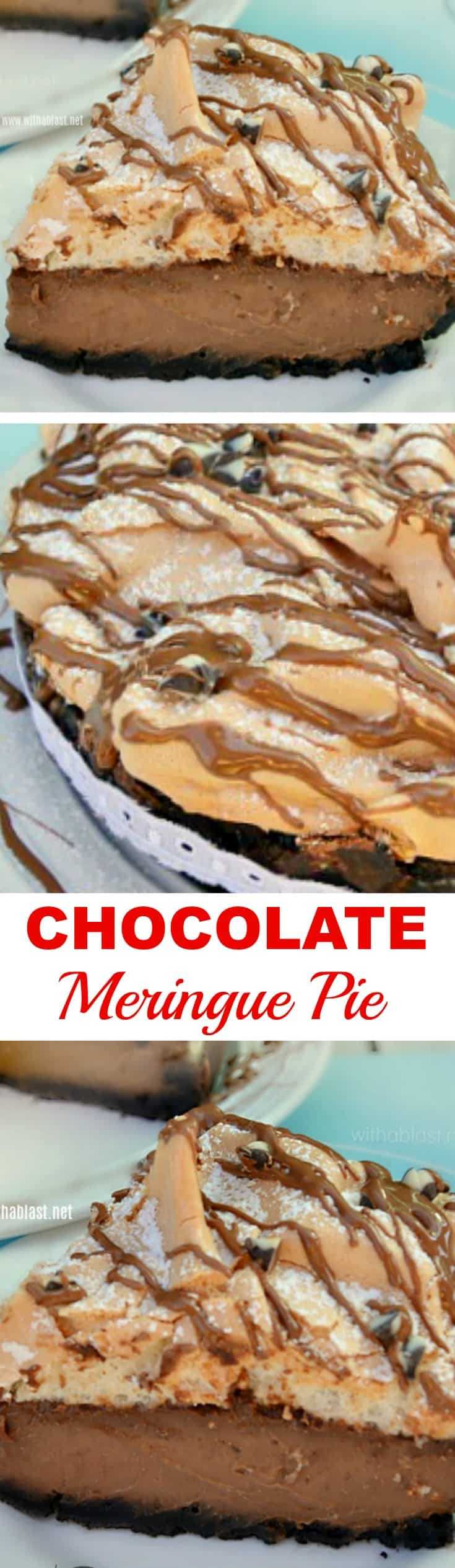 Chocolate Meringue Pie has a smooth, silky, almost ganache-like filling with a bit of an unusual, divine Meringue topping - so easy to make! #ChocolatePie #ChocolateMeringue