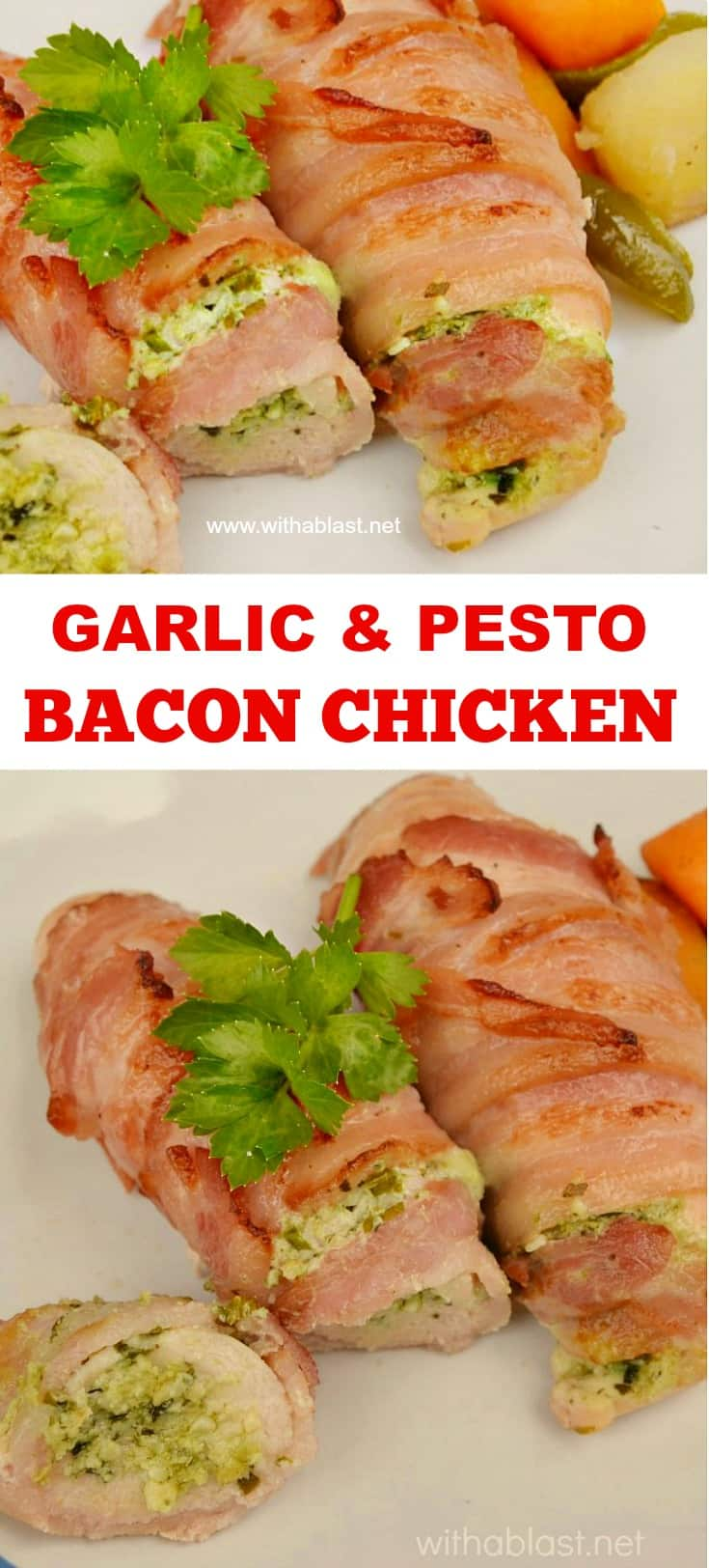 Garlic and Pesto Bacon Chicken is tender, juicy and deliciously cream cheese filled - all wrapped in bacon to make the Chicken extra special #ChickenRecipes #StuffedChicken #PestoChicken #BaconWrappedChicken