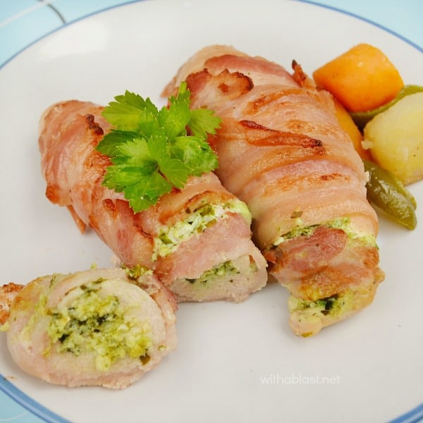 Garlic and Pesto Bacon Chicken is tender, juicy and deliciously cream cheese filled - all wrapped in bacon to make the Chicken extra special