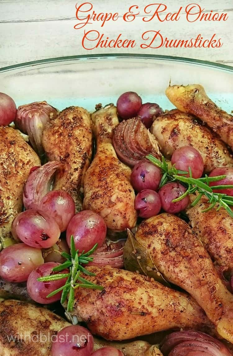 Grape and Red Onion Chicken Drumsticks are juicy and tender and so quick and easy to make (dump and bake!) and perfect for dinner on a busy week night #EasyChicken #ChickenRecipes #EasyDinner #DumpAndBakeChicken