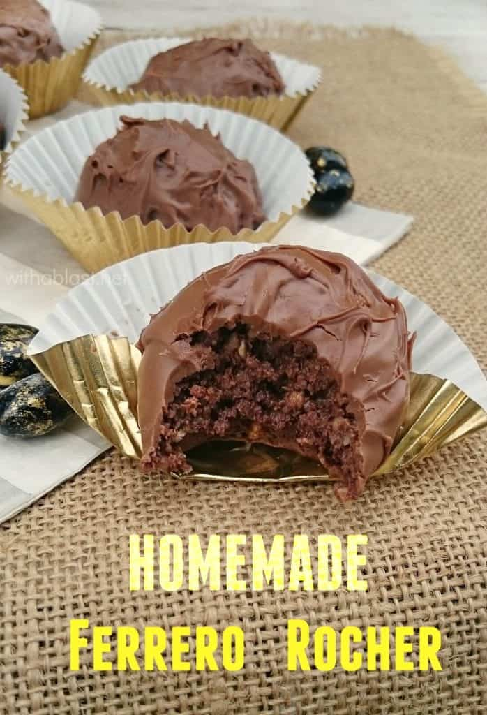 Homemade Ferrero Rocher ~ Make these worldwide popular Ferrero Rocher treats at home using only FOUR ingredients - quick and easy !