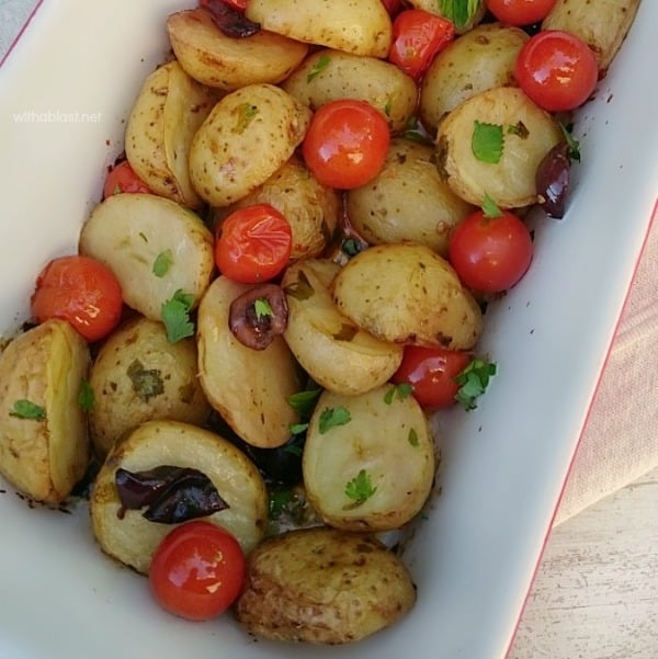 Mediterranean Baby Potatoes is bursting with the taste of the Mediterranean - bring this to your home with this scrumptious, easy Baby Potato dish ! #SideDish #PotatoRecipe #Potatoes #MediterraneanPotatoes #Thanksgiving #Christmas